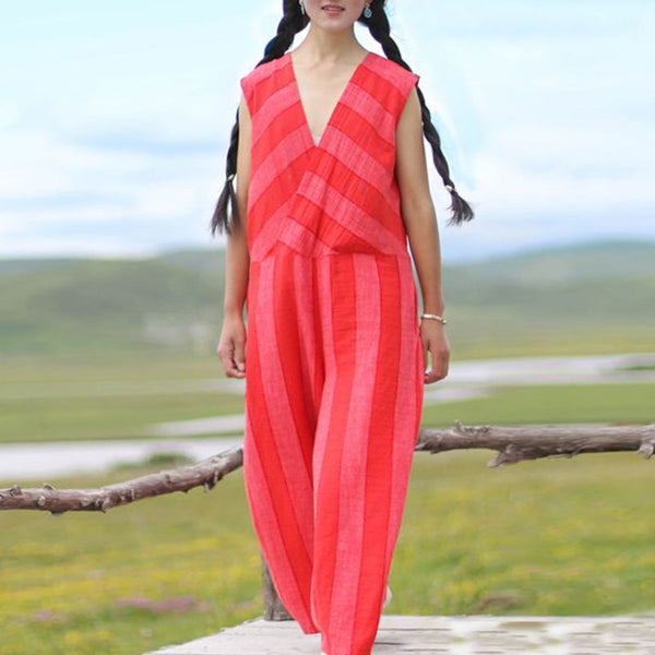 Linen Cotton V Neck Sleeveless Literature Women Red Stripe Jumpsuits Pants - Buykud