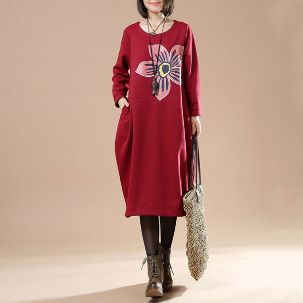 Autumn Plue Size Female Casual Long Sleeve Round Neck Printing Irregular Long Dark Red Dress - Buykud