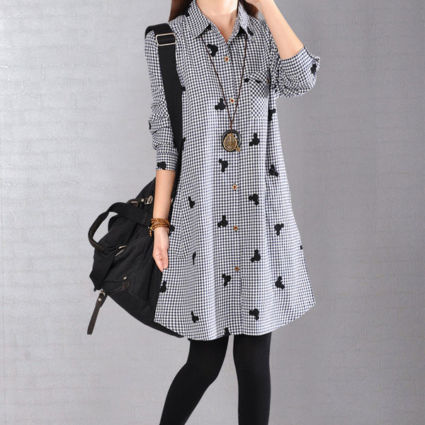Spring Women Casual Lattice Shirt