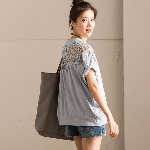 Hollowed Women Splicing Summer Cotton Loose Lace Light Blue Shirt