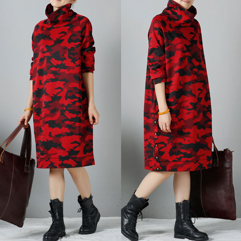 Women winter long sleeve casual loose dress