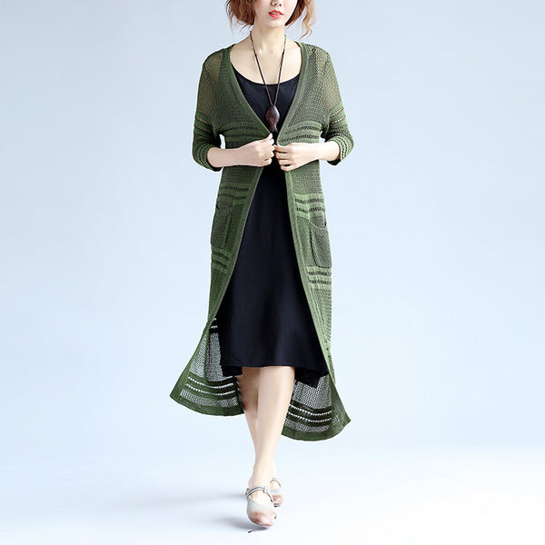 Hollowed Rayon Loose  Women Green Outerwear