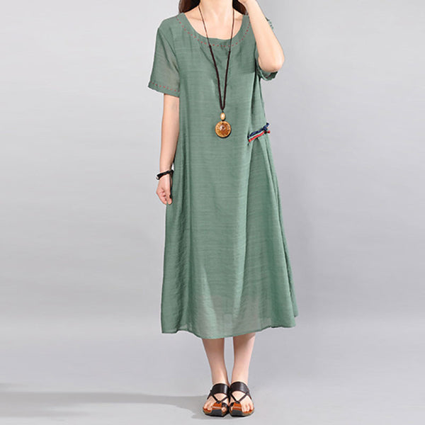Retro Women Loose Casual Summer Splicing Green Short Sleeves Dress - Buykud