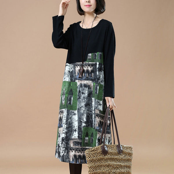 Spring Casual Loose Plus Size Printing Green Dress