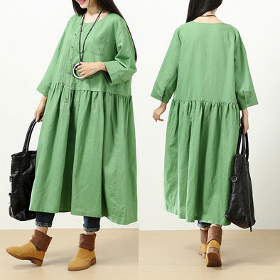 Women Round Neck Long Sleeve Splicing Loose Green Pleated Dress - Buykud