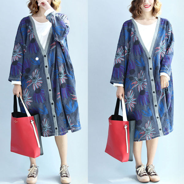 Women Retro Cotton Blouse Coat