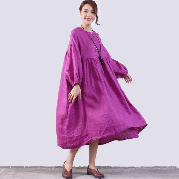 Casual Folded Linen Women Loose Purple Dress - Buykud
