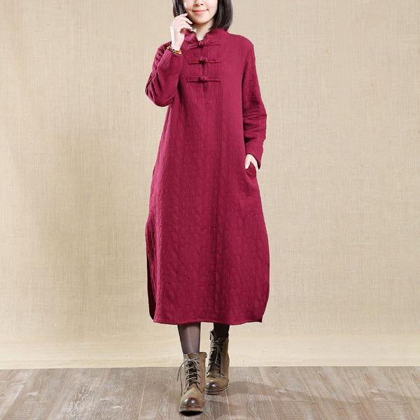 Literature Stand Collar Long Sleeves Retro Autumn Red Women Dress - Buykud