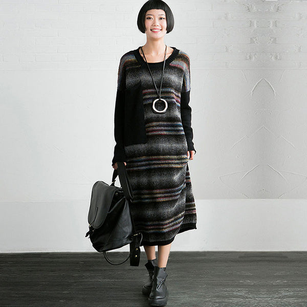 Loose Striped Knit Dress