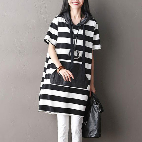 Hooded Pocket Women Black Stripe Dress - Buykud