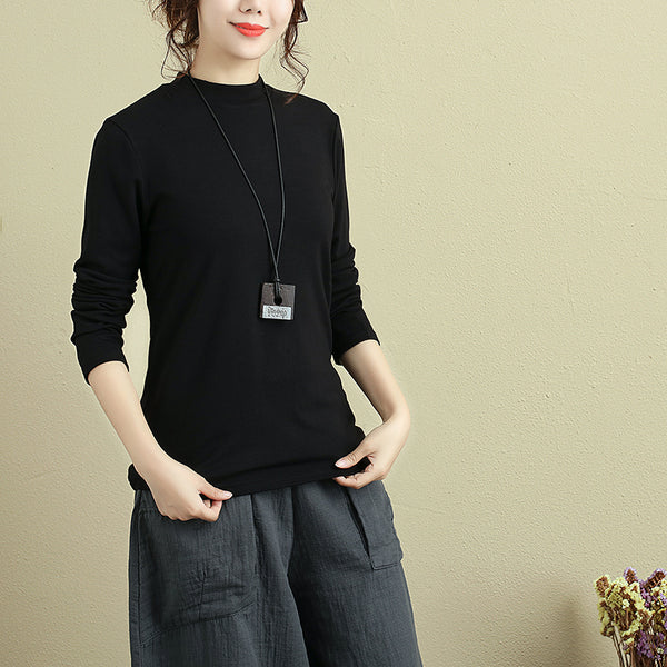 Casual Simple Autumn Long Sleeve Fitting Black Shirt For Women - Buykud