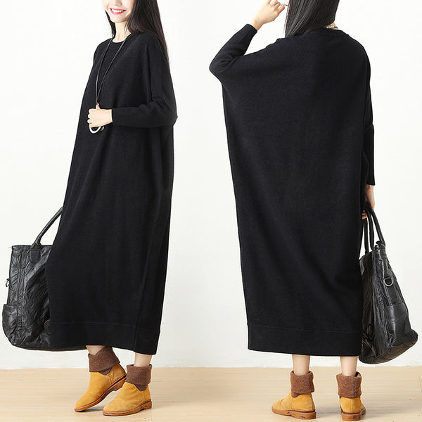 Autumn Winter Loose Knitted Sweater Black Dress For Women - Buykud
