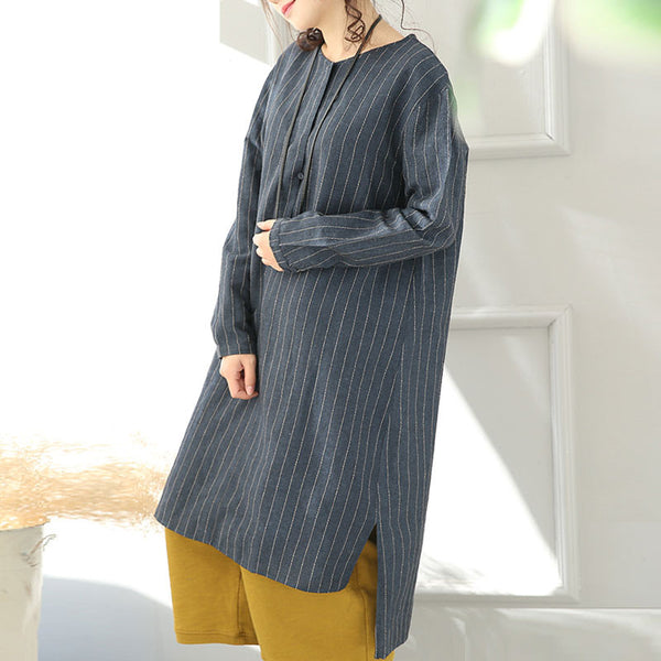 Round Neck Linen And Cotton Stripe Blue Long Shirt