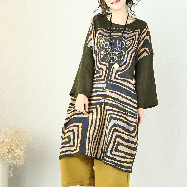 Spring Loose Tiger Pattern Long Sweater Dress