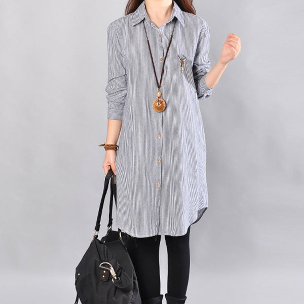 Stripe Women Cotton Blue Long Shirt