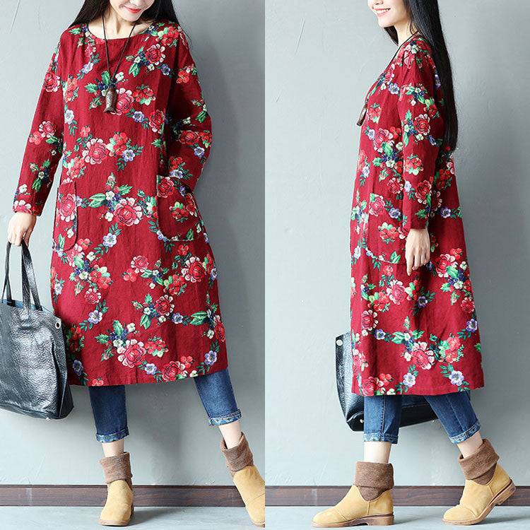 Round Neck Floral Pocket Linen Women Red Dress - Buykud
