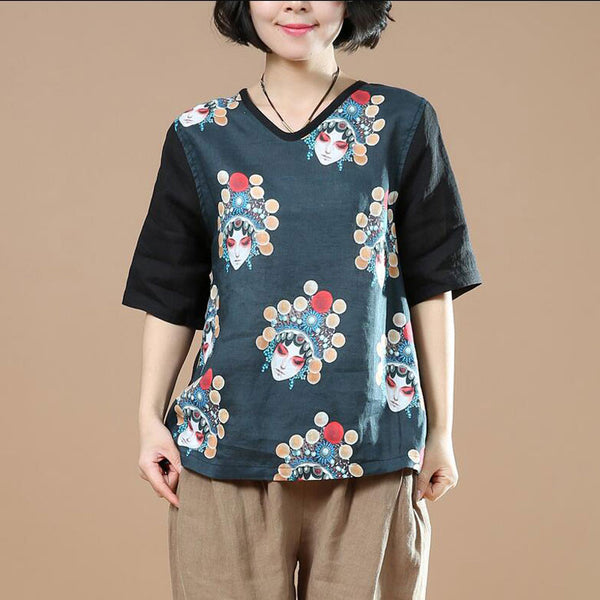 Printing Women Straight Loose Linen Summer V Neck Black Shirt