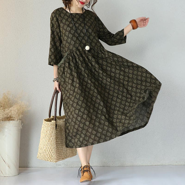 Women Loose Round Neck Deep Green Linen Dress
