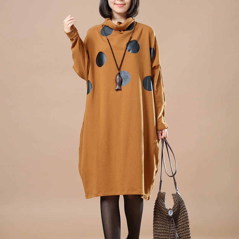 Yellow High Collar Dots Dress - Buykud