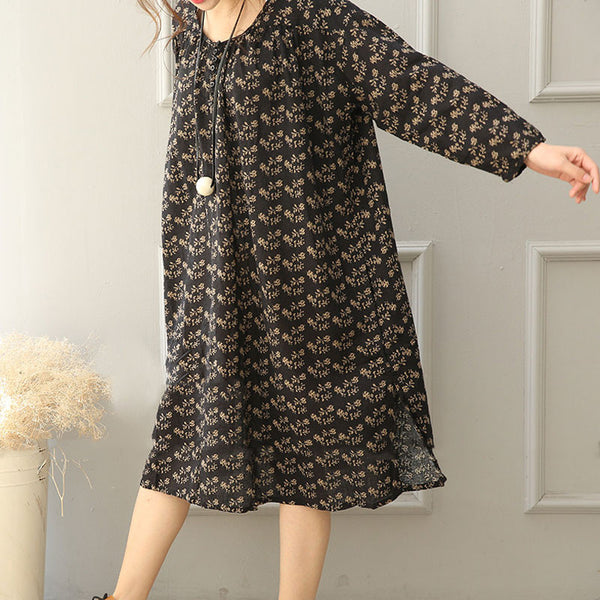 Linen Loose Floral Women Casual Splitting Dress