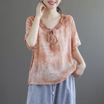 Lacing Women Printed Summer Loose T-shirt