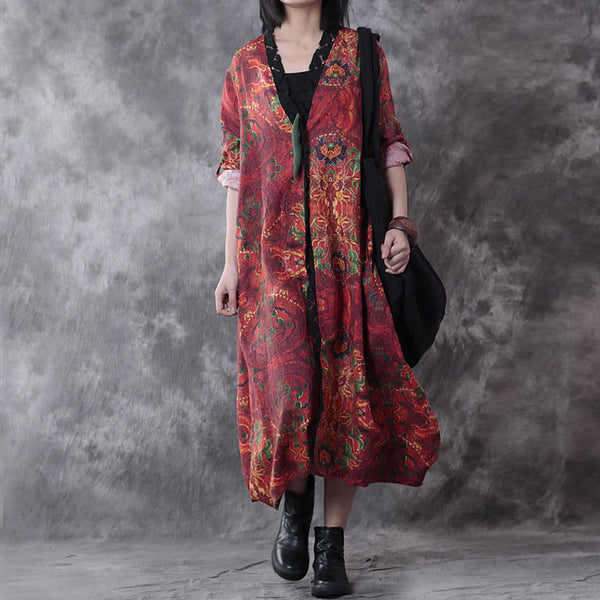 Retro Printing Loose Linen Outerwear Coat