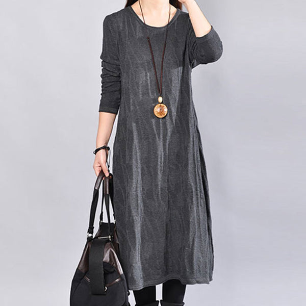 Long Sleeve Casual Round Neck Autumn Black Dress