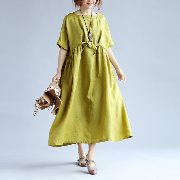 Loose Casual Lacing Short Sleeves Green Dress - Buykud