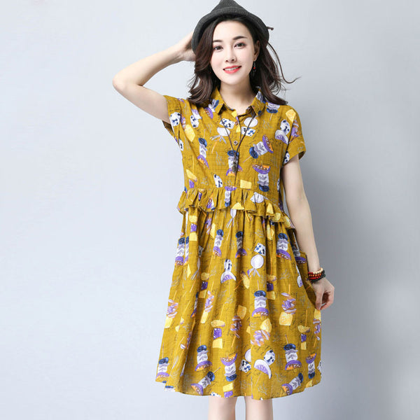Summer Sweet Casual Flounces Button Pocket Printing Yellow Dress - Buykud