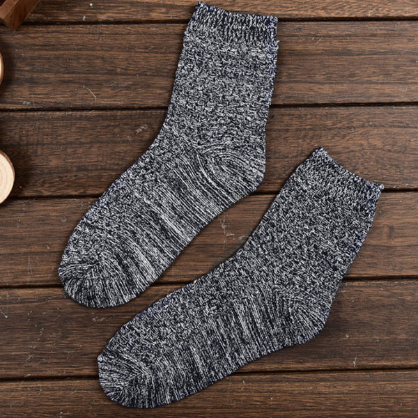 Unisex Cotton Black White Casual Thick Warm Knitted Socks - Buykud