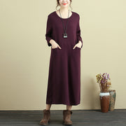 Women Long Sleeve Pockets Wine Red Casual Dress - Buykud