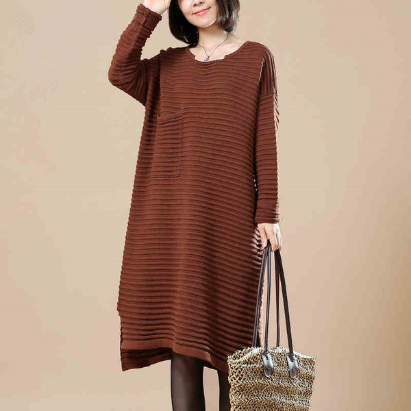 Round Neck Long Sleeve Knitted Sweater