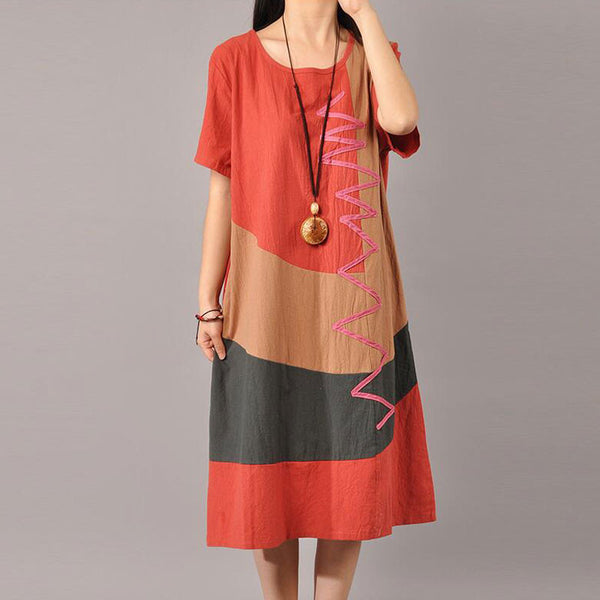 Summer Printing Women Round Neck Orange Dress