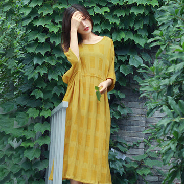 Half Sleeve Summer O Nek Cotton Linen Loose Dress