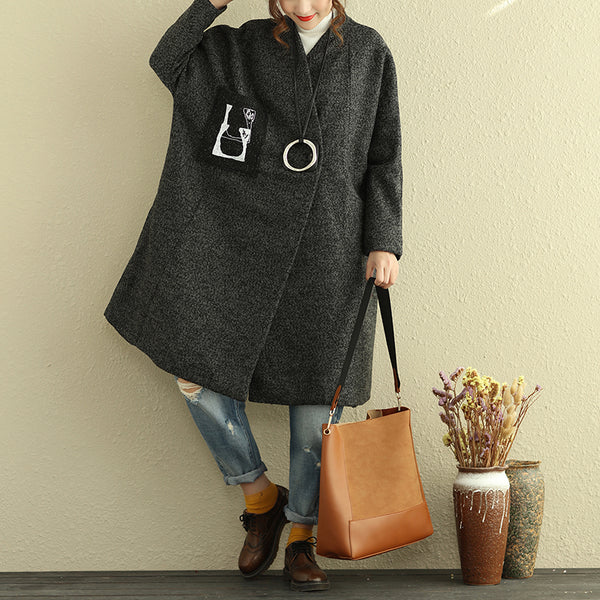 Winter Loose Women Long Sleeve Gray Knee Length Coat