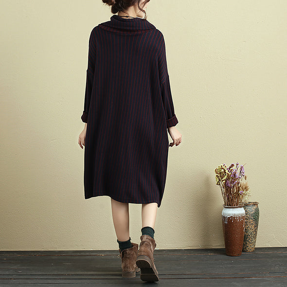 Long Sleeve Pockets Stripe Casual Mock Turtleneck Dress - Buykud
