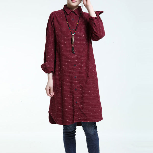 Casual Cotton Cotton Printing Wine Red Long Shirt
