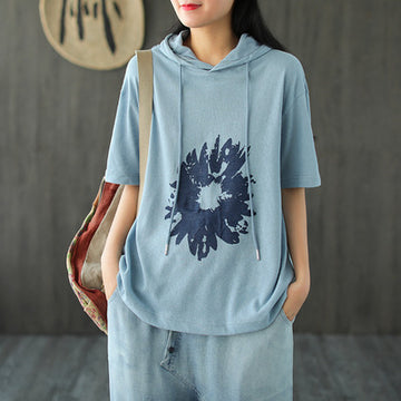 Women Summer Loose Short Sleeve Hoodie