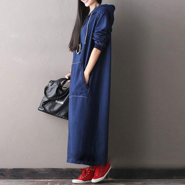 Hooded Loose Long Sleeve Denim Dress
