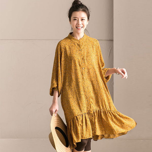 Spring Stand Collar Chiffon Floral Yellow Dress