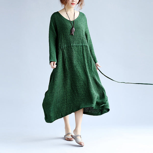 V Neck String Women Long Sleeves Green Dress - Buykud