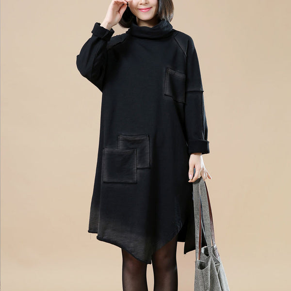 Spring Irregular Turtleneck Splicing Dress