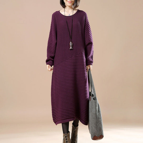 Purple Retro Loose Sweater