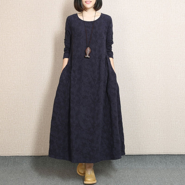 Embroidered Fold Cotton Linen Navy Blue Dress