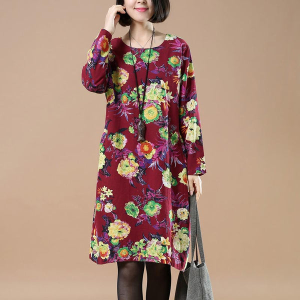 Retro Round Neck Printing Plus Szie Red Dress