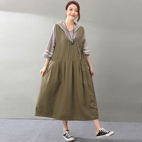 Loose Women Cotton Sleeveless Coffee Strap Dress