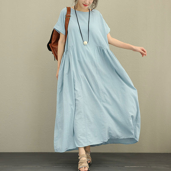 Summer Women Literature Loose Short SleeveLight Blue Dress