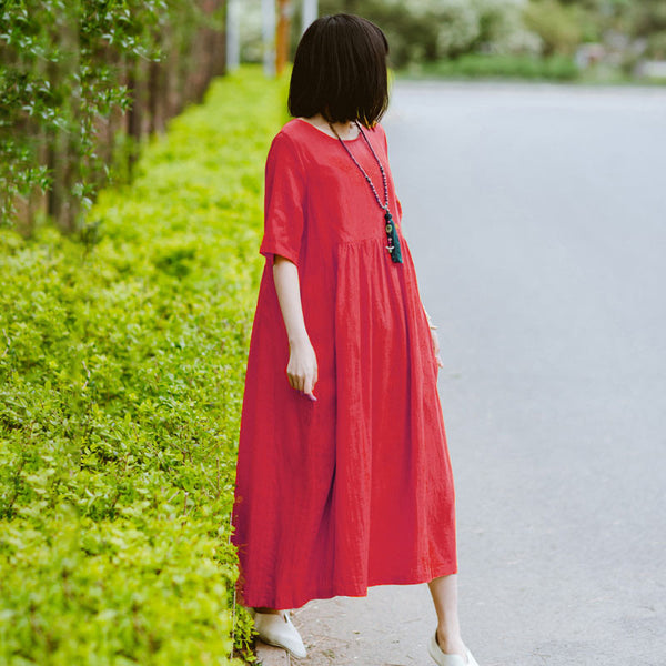 Summer Women Literature Loose Short Sleeve Red Dress
