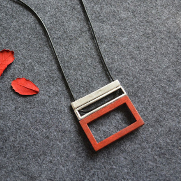 Women Geometric Wooden Block Pendant Necklaces