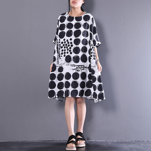 Women Casual Dot Printed 1/2 Sleeve Loose Dress - Buykud